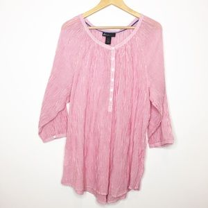 Lane Bryant Striped popover Top pink white 22 24